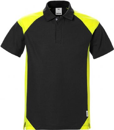 Fristads Polo Shirt 7047 PHV (Black/High Vis Yellow)